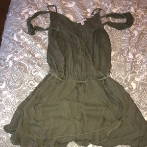 Army Green Cold Shoulder Romper
